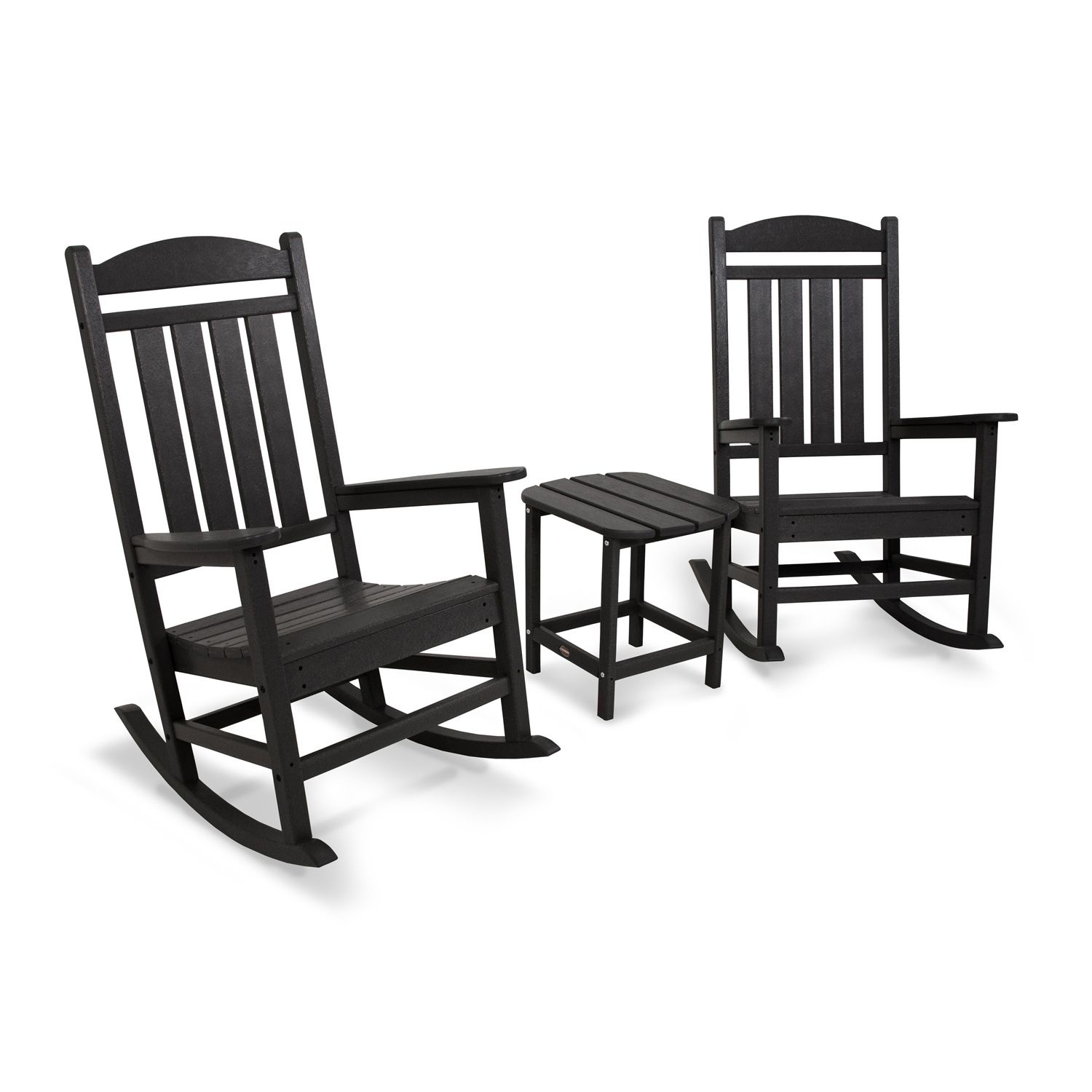 POLYWOOD® 3 Piece Presidential Outdoor Rocking Chair U0026 Square Side Table Set