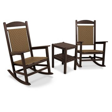 POLYWOOD® 3-piece Presidential Woven Outdoor Rocking Chair & Side Table Set