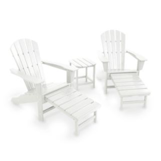 POLYWOOD® 3-piece South Beach Ultimate Adirondack Outdoor Chair & Side Table Set