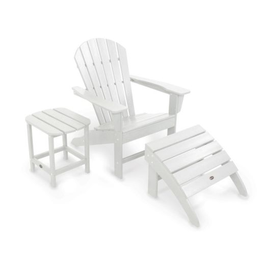 POLYWOOD® 3-piece South Beach Adirondack Outdoor Chair, Ottoman & Side Table Set
