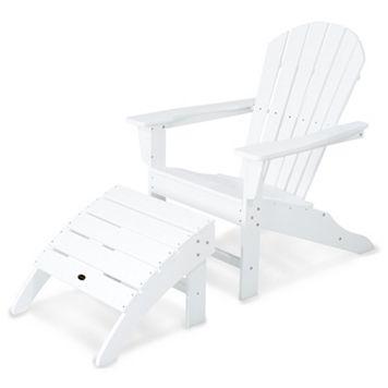 POLYWOOD® 2-piece South Beach Adirondack Outdoor Chair & Ottoman Set