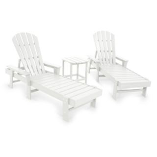 POLYWOOD® 3-piece South Beach Outdoor Chaise Lounge Chair & Side Table Set