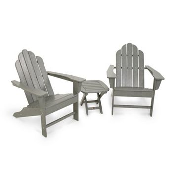 POLYWOOD® 3-piece Long Island Gray Adirondack Outdoor Chair & Side Table Set