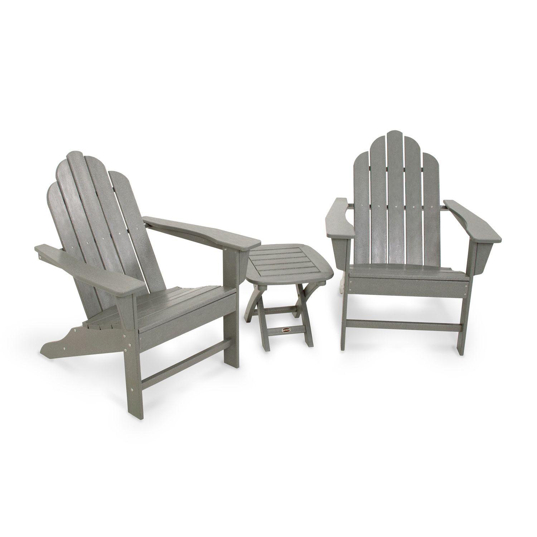 POLYWOOD® 3 Piece Long Island Gray Adirondack Outdoor Chair U0026 Side Table Set