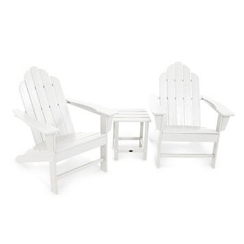 POLYWOOD® 3-piece Long Island Adirondack Outdoor Chair & Side Table Set