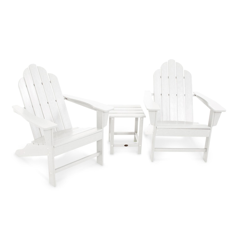 POLYWOOD® 3 Piece Long Island Adirondack Outdoor Chair U0026 Side Table Set