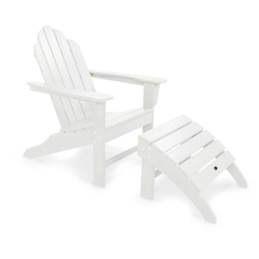 POLYWOOD® 2-piece Long Island Adirondack Outdoor Chair & Ottoman Set