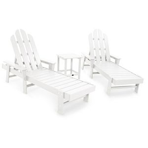 Marvelous Polywood 3 Piece South Beach Outdoor Chaise Lounge Chair Side Table Set Short Links Chair Design For Home Short Linksinfo