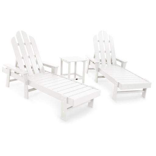 POLYWOOD® 2-piece Long Island Outdoor Chaise Lounge Chair & Side Table Set
