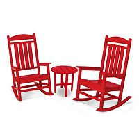 POLYWOOD® 3 pc Red Presidential Outdoor Rocking Chair & Round Side Table Set