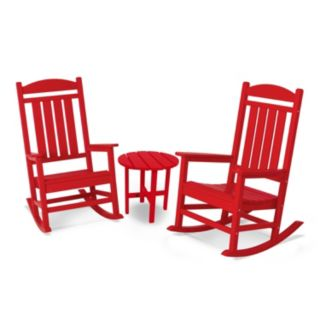POLYWOOD® 3-piece Red Presidential Outdoor Rocking Chair & Round Side Table Set