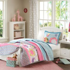 Mi Zone Kids Blooming Butterflies Reversible Coverlet Set