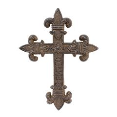 Stonebriar Collection Rustic Fleur-De-Lis Cross Wall Decor