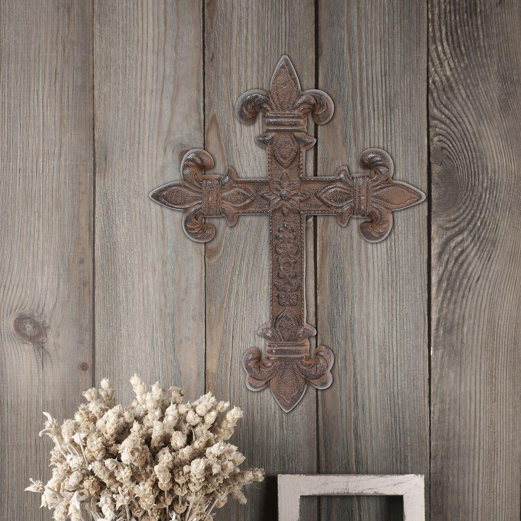 Stonebriar Collection Rustic Fleur-De-Lis Cross Wall Decor