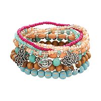 Mudd® Bead, Hamsa, Tree & Evil Eye Stretch Bracelet Set