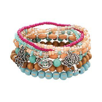 Mudd® Bead, Hamsa, Tree & Evil Eye Stretch Bracelet Set