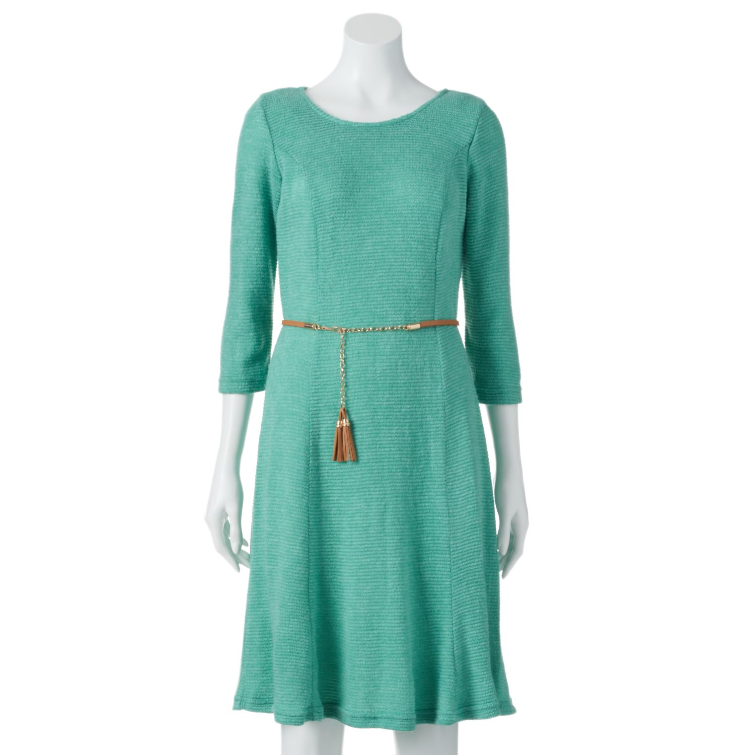 Sharagano Ribbed Fit & Flare Sweaterdress - Womens