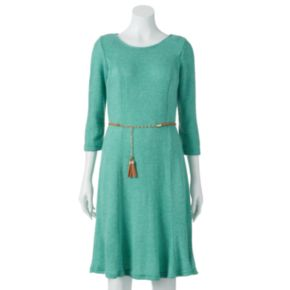 Sharagano Ribbed Fit & Flare Sweaterdress - Women's