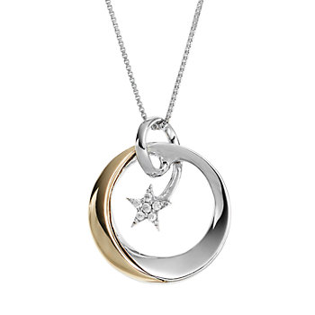 Wishes & Dreams by Leeza Gibbons Diamond Accent Sterling Silver & 10k Gold Circle & Star Pendant