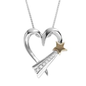 Wishes & Dreams by Leeza Gibbons Diamond Accent Sterling Silver & 10k Gold Heart & Star Pendant
