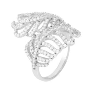 Cubic Zirconia Sterling Silver Feather Ring
