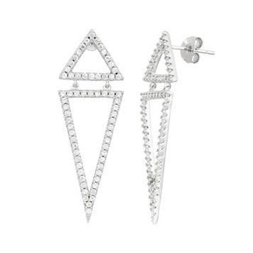 Cubic Zirconia Sterling Silver Double Triangle Drop Earrings