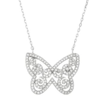 Cubic Zirconia Sterling Silver Butterfly Necklace