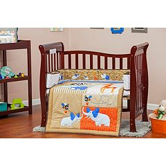 Dream On Me 2 pc Reversible Jungle Babies Mini Crib Set