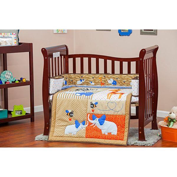 Pc Reversible Jungle Babies Mini Crib Set, Dream On Me Bedding