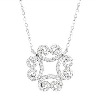 Cubic Zirconia Sterling Silver Filigree Clover Necklace