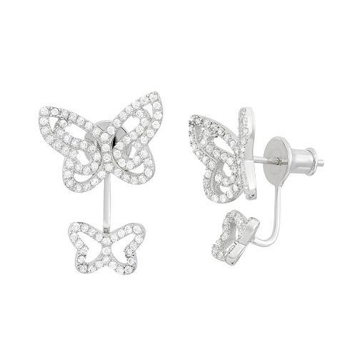 Cubic Zirconia Sterling Silver Double Butterfly Jacket Earrings