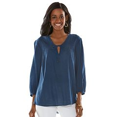 Chaps Embroidered Crinkle Peasant Top - Women's