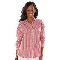 Chaps Striped Linen-Blend Shirt - Women's