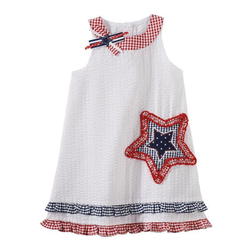 Sophie Rose Patriotic Checkered Star Dress - Toddler Girl