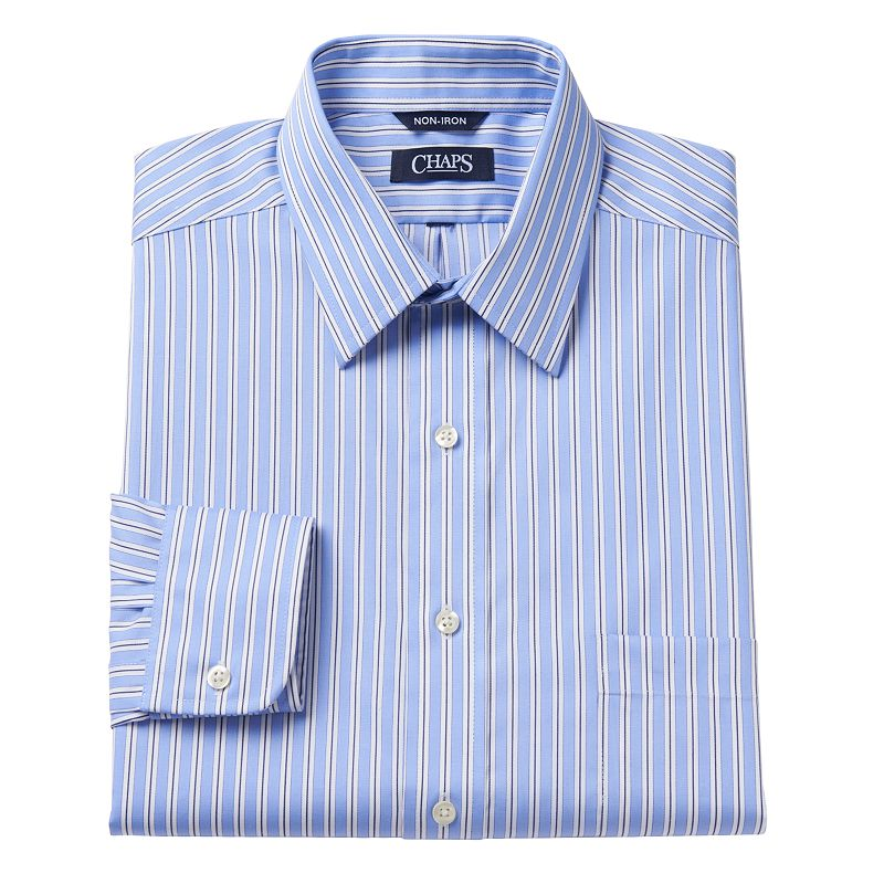 Chaps Classic-Fit Thick Striped No-Iron Point-Collar Dress Shirt - Men