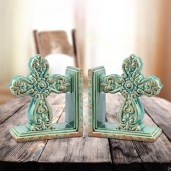 Stonebriar Collection 2-piece Baroque Cross Bookend Set