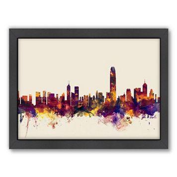 Americanflat ''Hong Kong Skyline 2'' Framed Wall Art