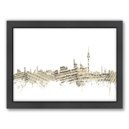 Americanflat ''Berlin, Germany Music Cityscape 2'' Framed Wall Art