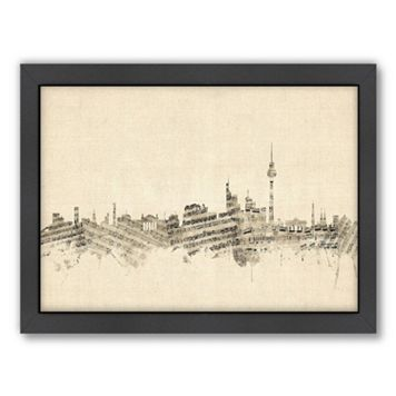 Americanflat ''Berlin, Germany Music Cityscape'' Framed Wall Art