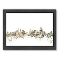 Americanflat ''Cincinnati, Ohio Music Cityscape 2'' Framed Wall Art