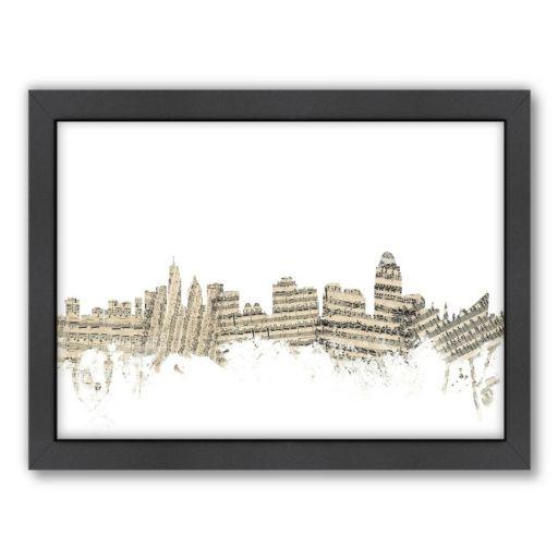Americanflat ''Cincinnati, Ohio Music Cityscape 2'' Framed Wall Art