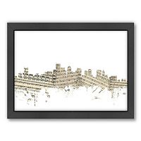 Americanflat ''Boston, Massachusetts Music Cityscape 2'' Framed Wall Art