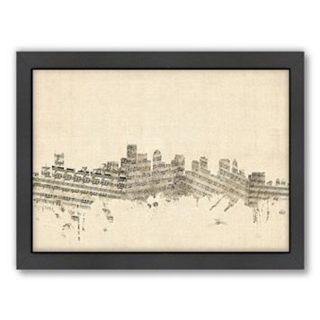 Americanflat ''Boston, Massachusetts Music Cityscape'' Framed Wall Art