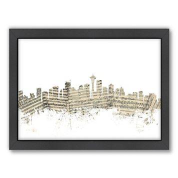 Americanflat ''Seattle, Washington Music Cityscape 2'' Framed Wall Art