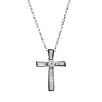1/4 Carat T.W. Diamond Sterling Silver Cross Pendant Necklace
