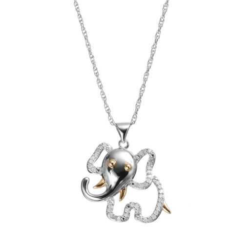 1/4 Carat T.W. Diamond Sterling Silver & 18k Gold Over Silver Elephant Pendant Necklace