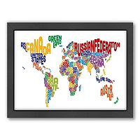 Americanflat Michael Tompsett ''Text Map of the World'' Framed Wall Art