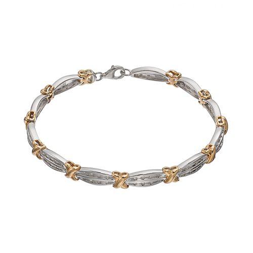 1/2 Carat T.W. Diamond 14k Gold Over Silver & Sterling Silver X Tennis Bracelet