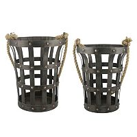 Stonebriar Collection 2 pc Riveted Rustic Basket Set