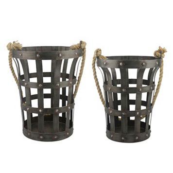 Stonebriar Collection 2-piece Riveted Rustic Basket Set